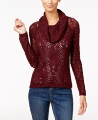 Inc International Concepts Petite Metallic Cowl Neck Open Knit Sweater Only At Macy's Port