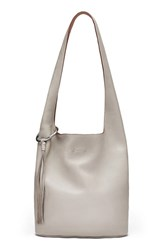 Elizabeth And James Finley Courier Leather Hobo Grey Dove Grey