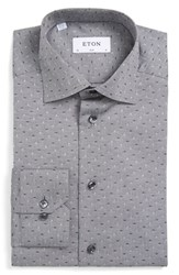 Eton Men's Big And Tall Slim Fit Micro Print Dress Shirt Grey