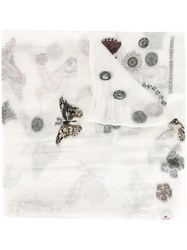 Alexander Mcqueen 'Obsession' Embroidered Scarf White