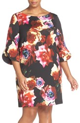 Gabby Skye Plus Size Women's Floral Print Shift Dress Black Multi