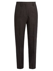 Golden Goose Checked Wool Cropped Trousers Grey Multi