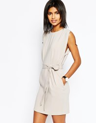 Asos Belted Mini Dress With Split Cap Sleeve And Pencil Skirt Gray