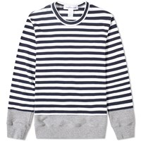 Comme Des Garcons Shirt Insert Stripe Crew Sweat Grey