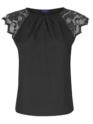 Hotsquash Crepe Top With Lace Sleeves Black