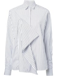 Each X Other Ruffle Striped Shirt White