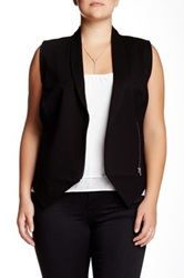 Mynt 1792 Asymmetrical Zip Vest Plus Size Black
