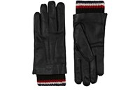 Thom Browne Men's Cashmere Lined Leather Gloves Black