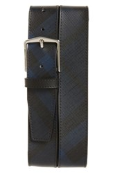 Burberry Men's 'Joe' Check Pattern Belt Navy Black