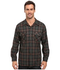 Pendleton L S Board Shirt Brown Green Plaid Men's Long Sleeve Button Up