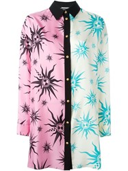 Fausto Puglisi Contrast Print Shirt Dress Pink And Purple