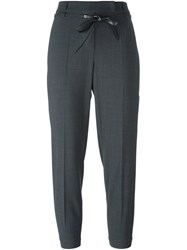 Brunello Cucinelli Drawstring Cropped Trousers Grey