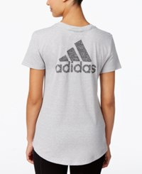 Adidas Logo Heathered V Neck T Shirt Medium Grey Heather Solid Grey
