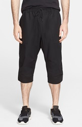 Y 3 Stretch Cotton Long Shorts Black