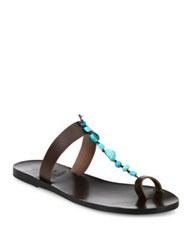 Ancient Greek Sandals Iris Beaded Leather T Strap Sandals Brown Blue