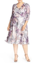 Komarov Plus Size Women's Floral Chameuse And Chiffon V Neck Dress