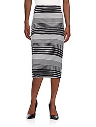 Saks Fifth Avenue Black Striped Knit Pencil Skirt Multicolor
