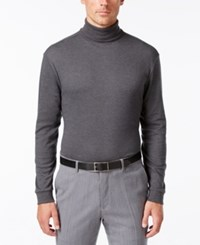 John Ashford Long Sleeve Turtleneck Interlock Shirt Charcoal Heather
