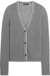 James Perse Open Knit Cotton Cashmere And Wool Blend Cardigan Gray