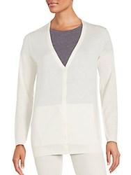 Inhabit Solid Long Sleeve Cashmere Cardigan Chalk