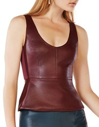 Bcbgmaxazria Faux Leather Peplum Top Royal Port
