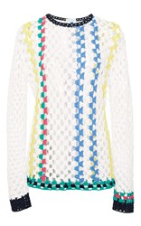 Mira Mikati Crochet Stripes Sweater White