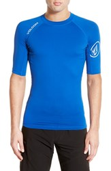 Men's Volcom Fitted Half Sleeve Rashguard Estate Blue