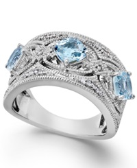 Macy's Aquamarine 1 1 4 Ct. T.W. And Diamond 1 10 Ct. T.W. Band In Sterling Silver Blue