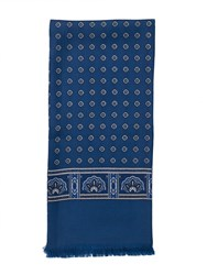 Paul Costelloe Blue Medallion Print Silk Scarf