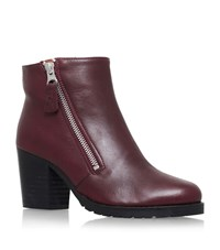 Kurt Geiger London Sweep Leather Ankle Boots Female Wine