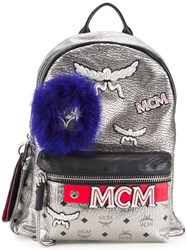 Mcm Logo Print Metallic Grey Backpack