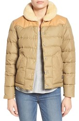 Penfield Women's 'Rockwool' Quilted Down Jacket With Genuine Shearling And Leather Trim