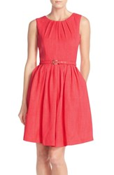 Women's Ellen Tracy 'Kenya' Fit And Flare Dress Hot Coral