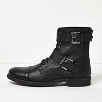 River Island Mens Black Leather Buckle Biker Boots