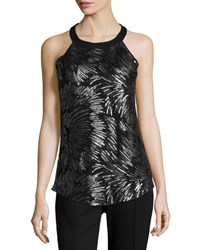 Design History Matte Sequin Front Tank Top Black Silver