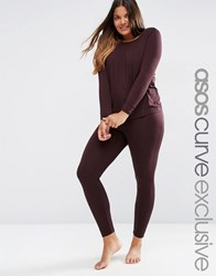 Asos Curve Lounge 2 Pack Long Sleeve Crew Top And Legging Set Port Brown