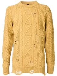 Miharayasuhiro Distressed Aran Knit Jumper Yellow Orange