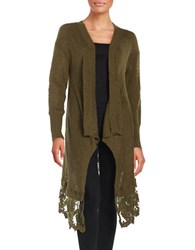 Coin Long Lace Trimmed Cardigan Olive