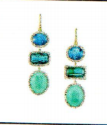 Irene Neuwirth One Of A Kind 18K Yellow Gold Earrings Set With Fine Aquamarine 11.46 Cts Tourmaline 15.65Cts Chrysoprase 20.50Cts And Diamond Pave 2.19Cts On Pave Hooks 0.03Cts Green