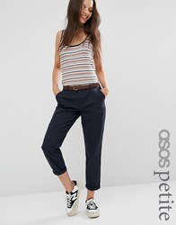 Asos Petite Chino Trouser With Belt Navy