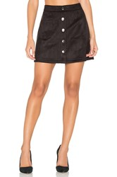 Bishop Young Suede Button Down Mini Skirt Black