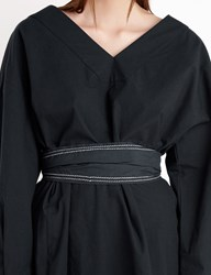 Pixie Market Charcoal Stitched Belted Shirt Dress
