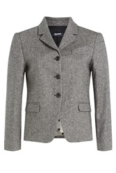 Jil Sander Navy Printed Blazer With Wool Multicolor