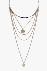 Boohoo Pendant Detail Multi Layered Necklace Gold