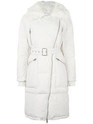 Diesel Fur Collar Zip Coat White