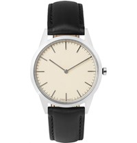 Uniform Wares C35 Stainless Steel And Leather Wristwatch Silver