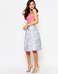 Lashes Of London Blossom Floral Midi Prom Skirt Whiteblueneonpink