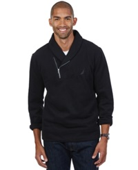 Nautica Shawl Collar Asymmetrical Zipper Sweatshirt Grey Heather