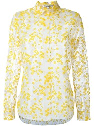 Carven Flower Embroidered Sheer Shirt Yellow And Orange