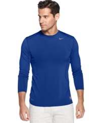 Nike T Shirt Pro Combat Dri Fit Fitted Long Sleeve Tee Varsity Royal